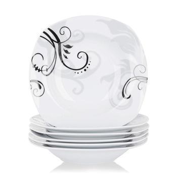 VEWEET ZOEY 6-sztuka 8 5 #8222 porcelanowy talerz do zupy czarne naklejki okrągłe talerze sałatkowe zestaw kuchnia zupa miska talerz na przekąski talerz głęboki zestaw tanie i dobre opinie MALACASA CN (pochodzenie) Taśmy Plac ceramic ZOEY-6SP