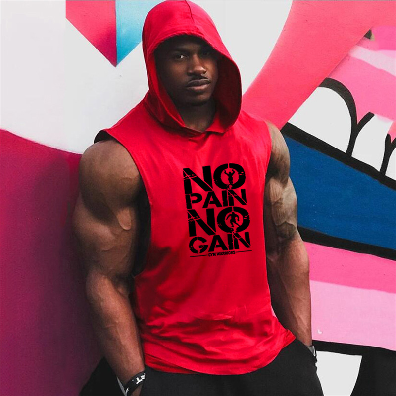 Brand Gyms Clothing Mens Bodybuilding Hooded Tank Top Cotton Sleeveless Vest Sweatshirt Fitness Workout Sportswear Tops