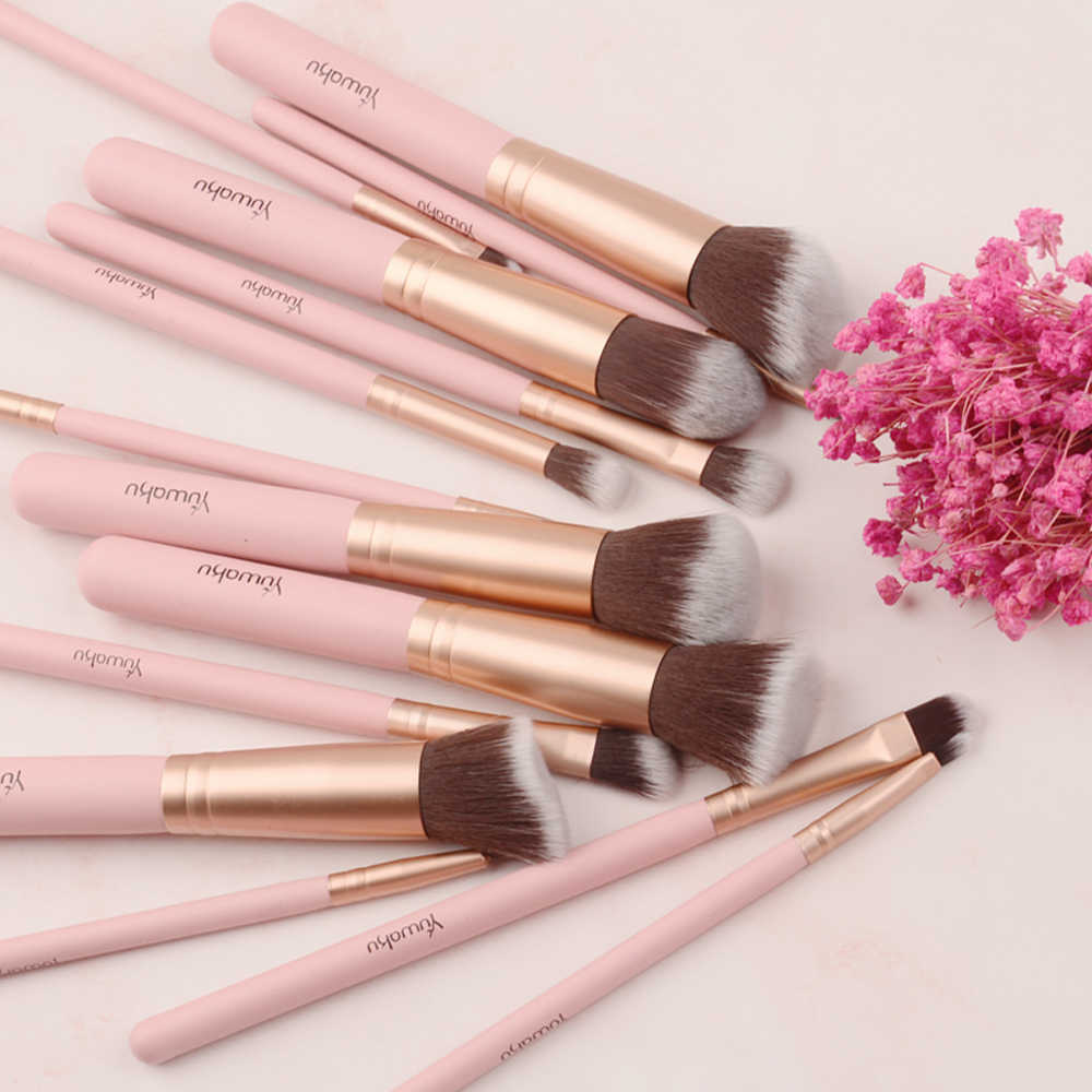 14Pcs Fashion Makeup Brushes Set Eye Shadow Bedak Foundation Kosmetik Kecantikan Rambut Lembut Maquiagem Kuas Alat Kit