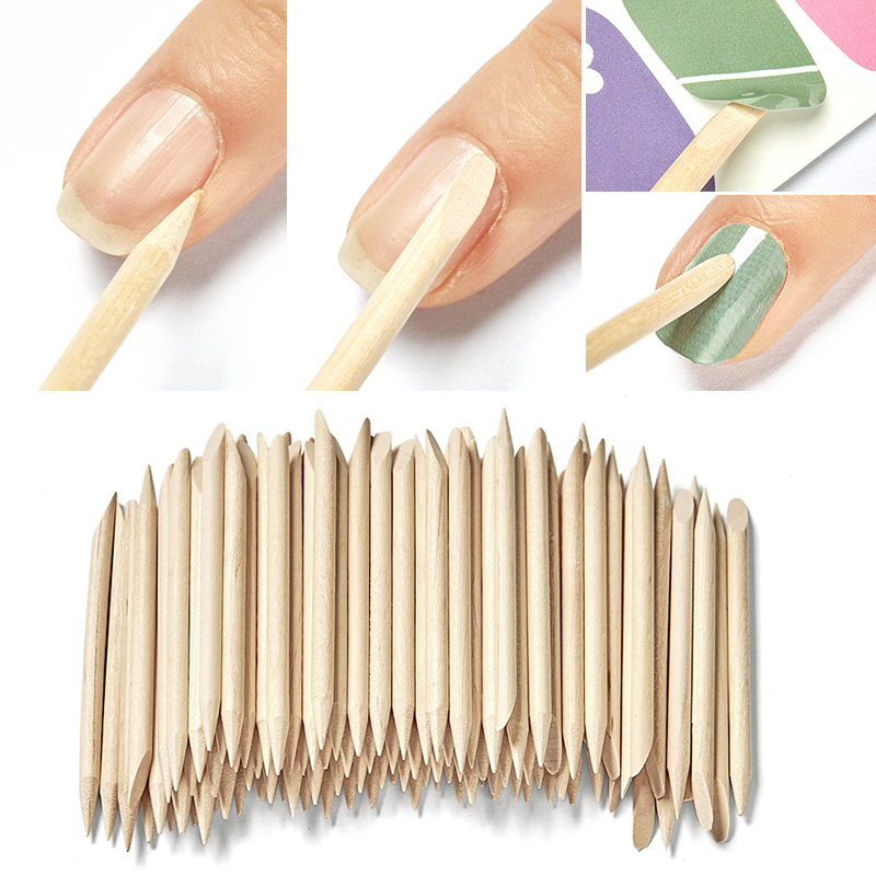 100/50/10 pcs Wooden Cuticle Pusher Nail Art Cuticle Remover Orange Wood Sticks Cuticle Removal Manicure Nail Art Tools