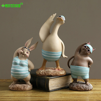 Swimming Duck Bunny Cat Resin Decoration Sunglasses Animal Sculpture Crafts Desktop Decoration Home Decoration Accessories