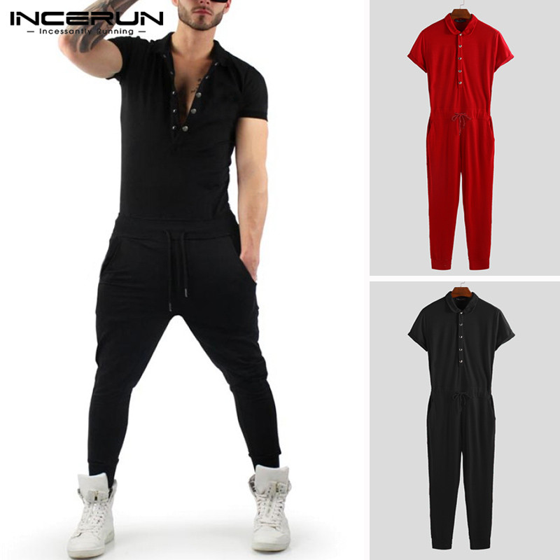 INCERUN Men Jumpsuit Solid Shortsleeve Slim Bodybuilding Pants Rompers Workout  Tracksuit Overalls Men 2020 Streetwear Plus Size