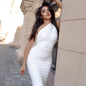 Женское облегающее платье Adyce, белое Клубное платье без рукавов с драпировкой, вечерние платья на одно плечо, лето 2019