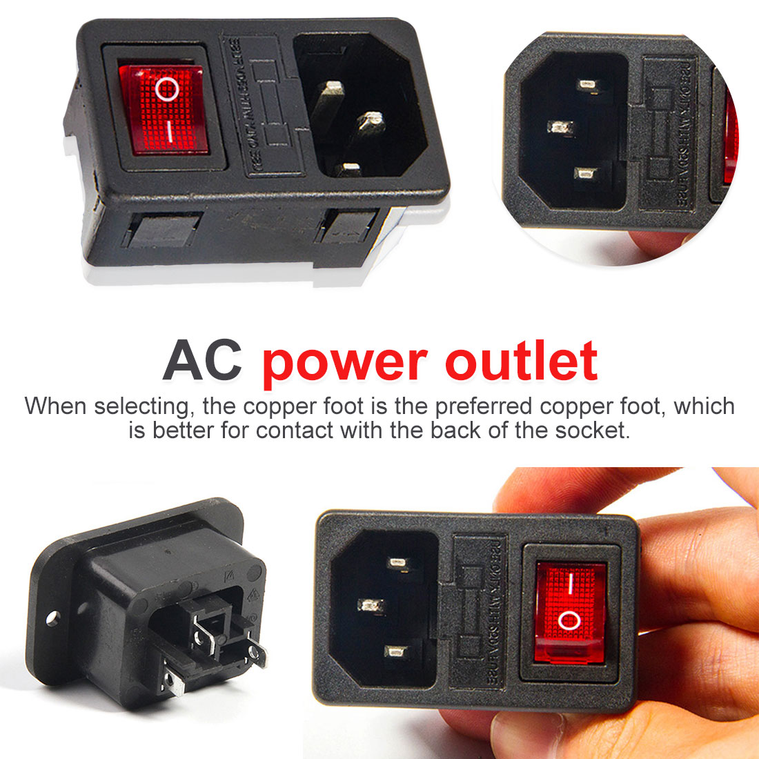 IEC 320 C14 Inlet Power Socket Fuse Switch Power socket red light power rocker switch connector plug power socket,