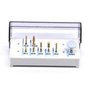 Image 2 - 7 stücke + 1 weiß block Natürliche Korund Drei Schicht Überzug Dental Diamant Hohe Geschwindigkeit FG Bur Bohrer für Porzellan laminat Veneers