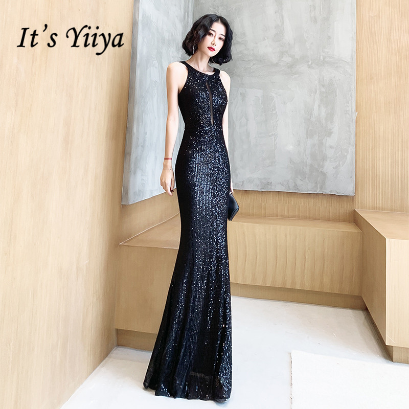 It's Yiiya Evening Dresses For Girls Black Sequined Formal Evening Dresses Sleeveless Halter Mermaid Long Evening Gowns K098