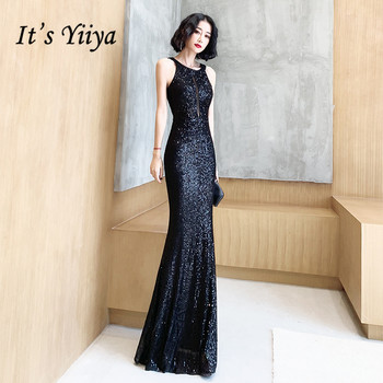 Its Yiiya Evening Dresses For Girls Black Sequined Formal Sleeveless Halter Mermaid Long Gowns K098