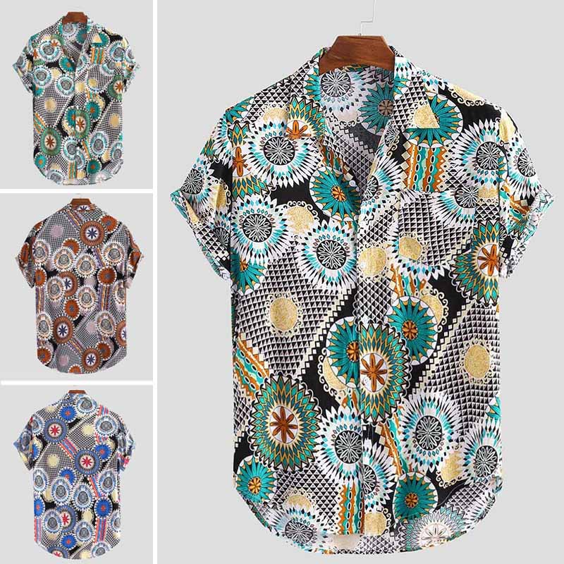 INCERUN Men Printed Shirts Casual Short Sleeve Turn Down Collar Shirt Man Floral Loose Buttons Blouse Streetwear Summer Tops 5XL
