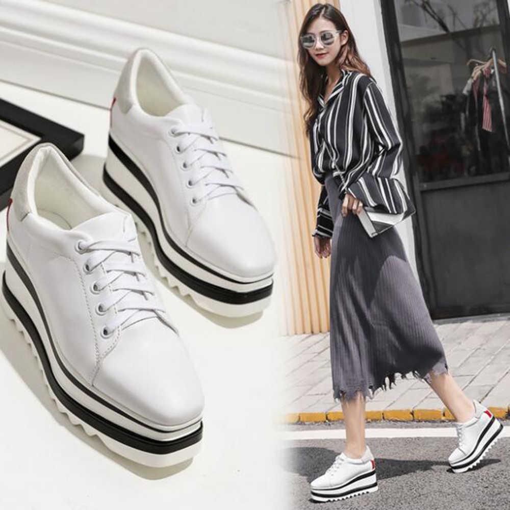 Yeni kadın ayakkabısı küçük beyaz ayakkabı rahat saf renk platformu ayakkabı kadın ayakkabı çapraz bandaj küçük deri ayakkabı y311