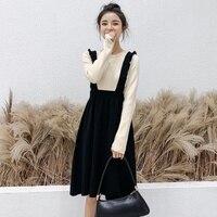 Knitted Dress Women's Clothing Fall Spring Knee Length Fake Two Piece Ruffles Long Sleeve Elegant Sweater Dresses TA9852