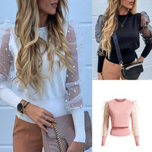 S-XL Fashion Womens Slim Fit Sweater Lady Long Puff Sleeve Tops Pullover Jumper See-through Sheer Mesh Casual Solid Color  - buy with discount