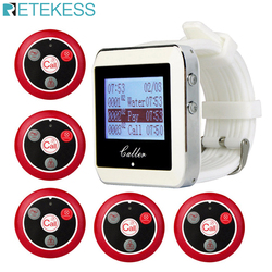 RETEKESS Wireless Waiter Calling System For Restaurant Service Pager System Guest Pager 1Watch Receiver+5 Call Buttons F3288B