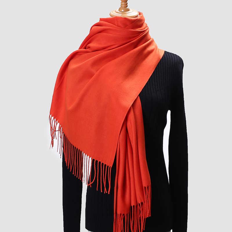 2020 חורף צעיפי נשים צעיפי חם כורכת ליידי פשמינה טהור שמיכת קשמיר צעיף צוואר סרט hijabs גלימות צעיף