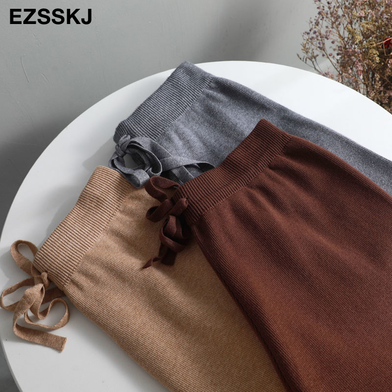 2019 autumn winter new THICK casual straight pants women female drawstring loose knitted wide leg pants casual Trousers 27