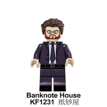 Building Blocks Banknote House of Paper Money Heist Single Sale Action Thriller Figures Bricks Toys for Children KF1231 KF1232 KF1233