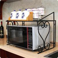 High quality Multi functional Kitchen Storage Stand Iron Oven Rack Fold able Frame Utility Storage Shelf Plate Organizer