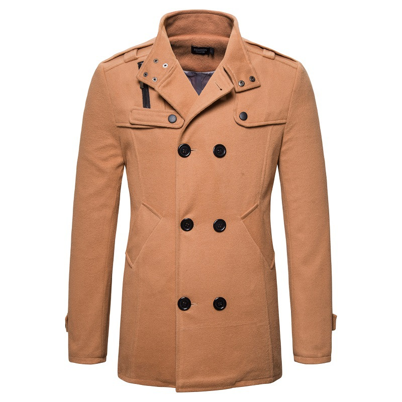 Fashionable Men's Woolen Coat Long Sleeve Classic Warm Male Long Jacket Side Pockets Solid Smart Casual Trench