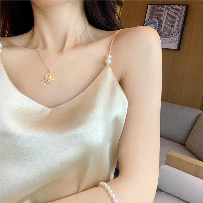 Women Halter Basic Cami Sleeveless Satin Beaded Silk Tank Tops Women'S Summer Camisole Plus Size Shirts 2020 Spaghetti Strap Top