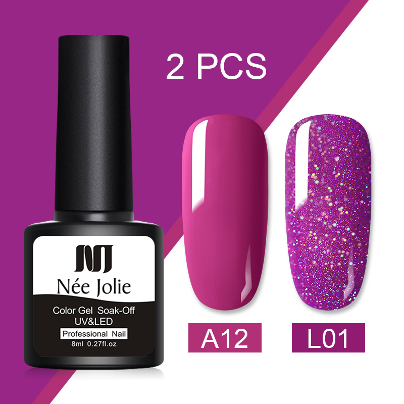 Nee Jolie 8ml Rose Color Series LED Nail Gel Nail Soak Off UV Nail Art Gel Polish Semi Permanent Nail Varnish Gel 2 Bottles/set