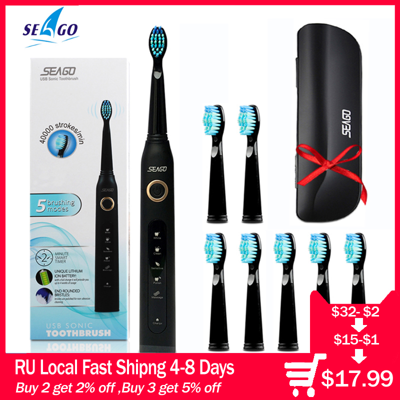 Seago Sonic Electric Toothbrush SG-507 Adult Timer Brush 5 Mode USB Charger Rechargeable Tooth Brushes Replacement Heads Set