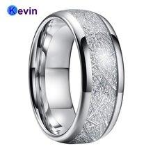 Метеоритовое кольцо Женское с белой инкрустацией метеорита ширина