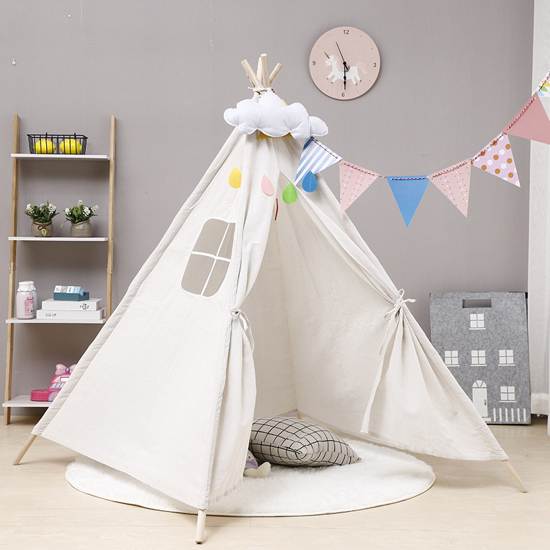 Children's Tent Portable Cotton Canvas Tipi House Kids Tent Girls Play House Wigwam Game House Indian Triangle Tent Room Decor