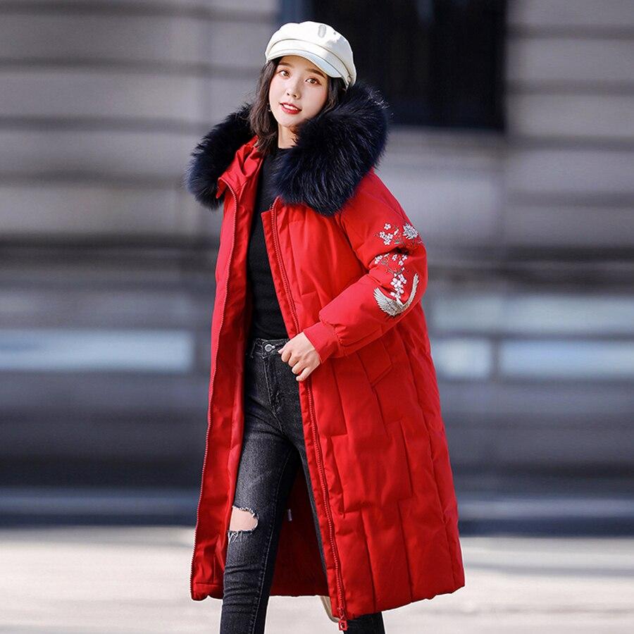 Winter Jacket Sustans Long Winter Coats Hooded Embroidery Outwear 2020 Real Fur Collar Winter Thicken Warm Cotton Women Female