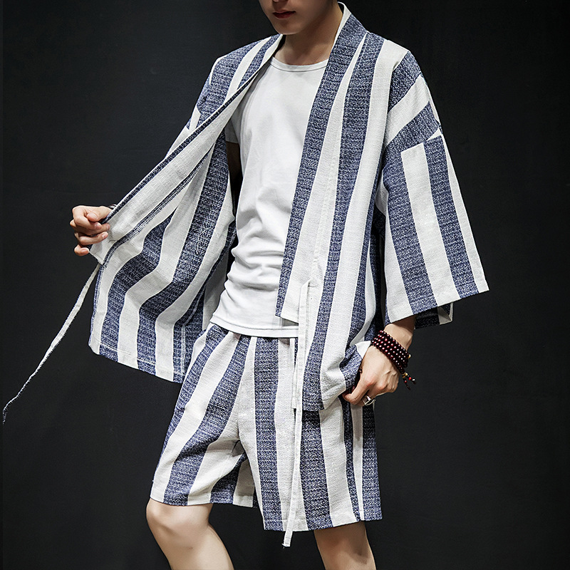 Summer Bold Stripes Short Sleeve Men's Loose-Fit Flax Robes Cardigan Chinese Clothing Chinese-style Cotton Linen Three-quarter-l