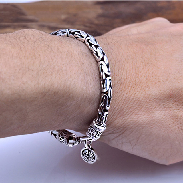 Real 925 Sterling Silver color Men Bracelet Thick Safe Pattern Vintage Punk Rock Style Bangle Men Fine Jewelry Fathers Day Gift