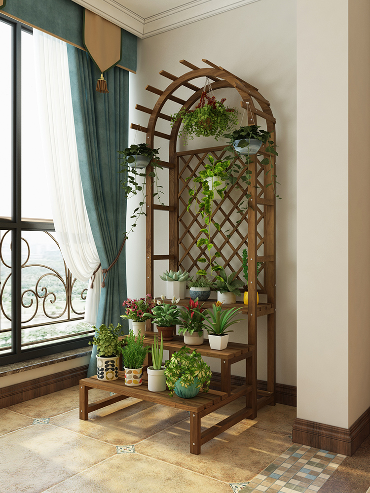 Floor Flower Stand Wooden Balcony Flower Rack Solid Wood Flower Rack Indoor Plant Stand For Living Room Flower Pot Plant Rack