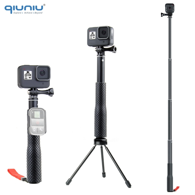 QIUNIU Extendable Monopod Selfie Stick Handheld Pole with Tripod Adapter Mount for GoPro Hero 8/7/6/5 for DJI Osmo Pocket Camera