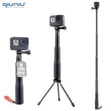 QIUNIU Uitschuifbare Monopod Selfie Stick Handheld Pole met Statief Adapter Mount voor GoPro Hero 8/7/6/ 5 voor DJI Osmo Pocket Camera