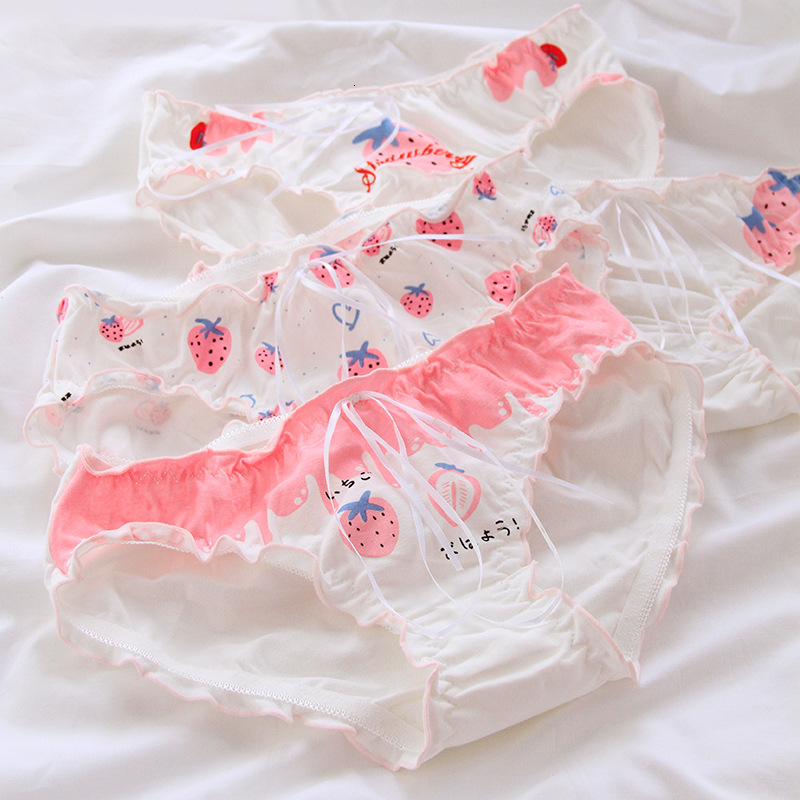 SP&CITY Sweet Pink Cartoon Strawberry Ruffles Cotton Underwear Sexy Women Print Bow Menstrual Panties Cute Lingerie Girls Brief