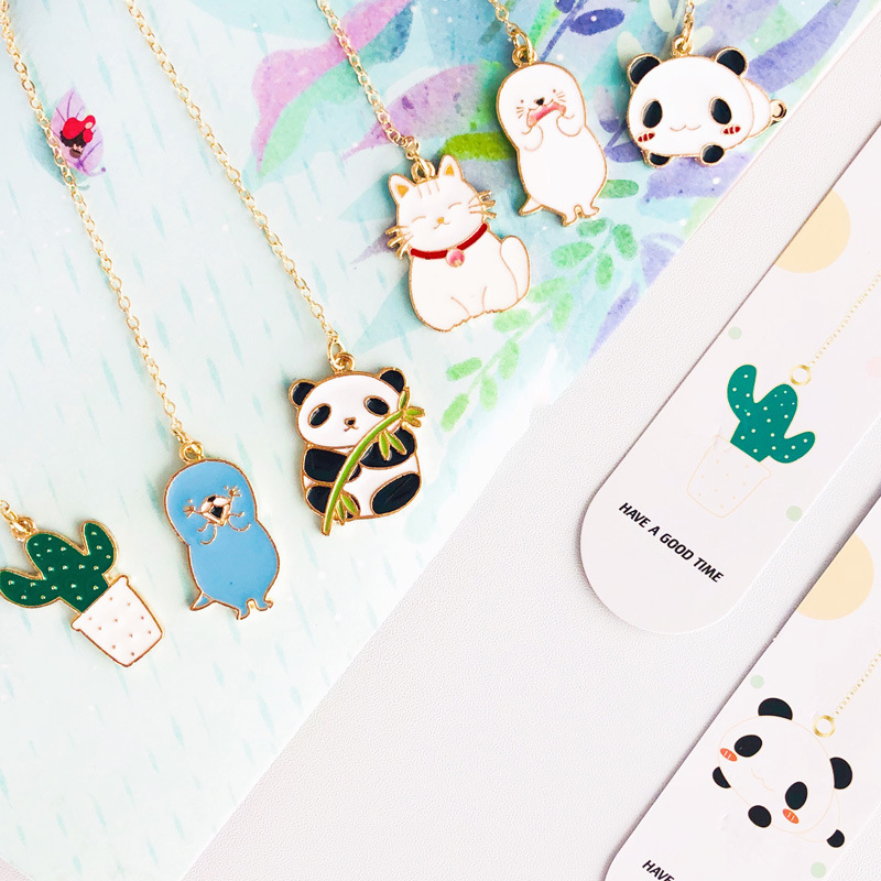 Cute Cartoon Animals Cat Panda Cactus Bookmark Pendant Metal Book Mark Stationery School Office Supply Escolar Papelaria