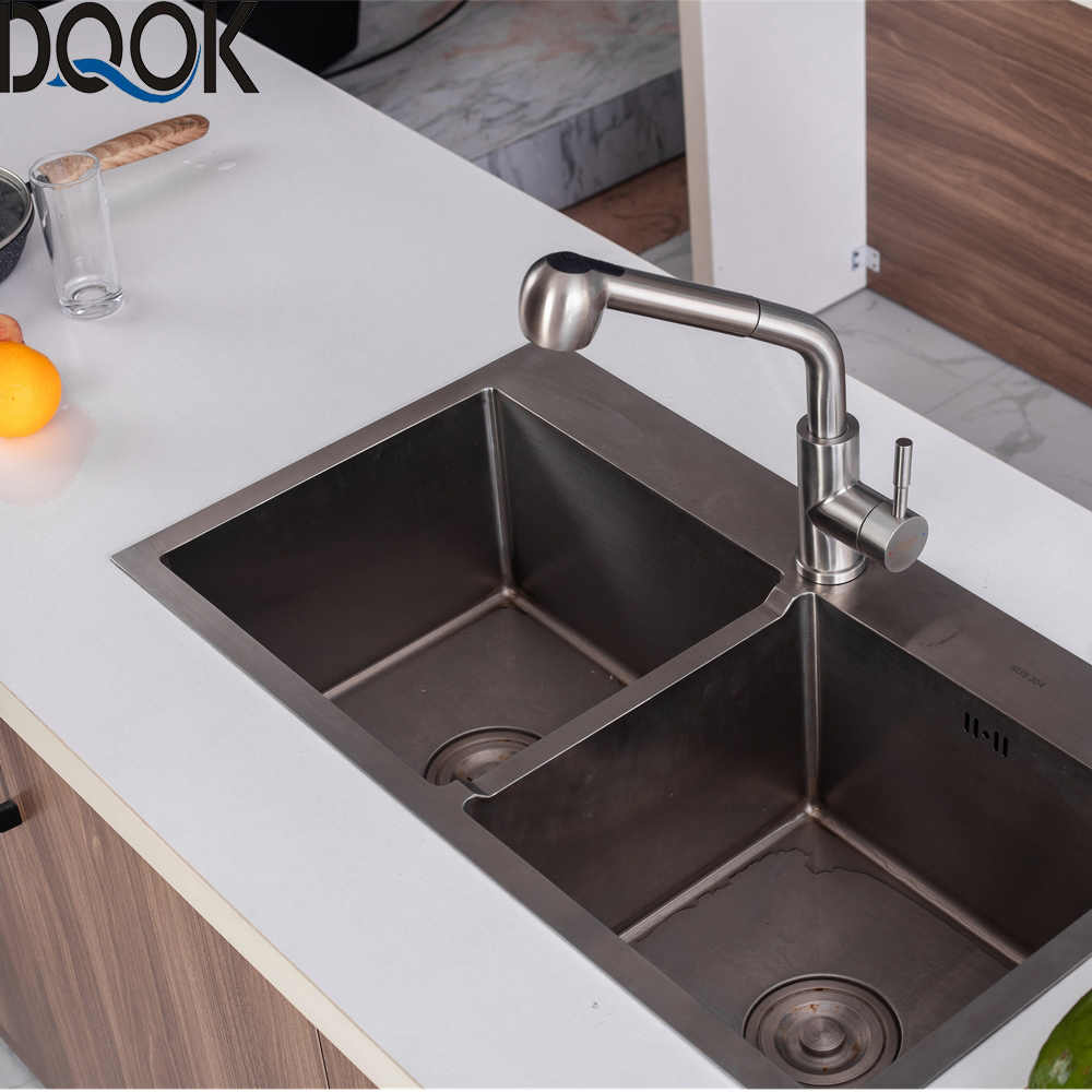 dqok brushed nickel kitchen faucets single hole 360 degree swivel pull out black kitchen sink faucet mixer stainless steel tap