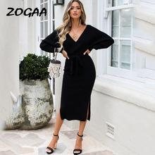 Black Knitted Sweater Dress Women Sexy Autumn Winter V Neck With Belt Split Slim Long Sleeve Solid Elegant Ladies Vestidos 2019