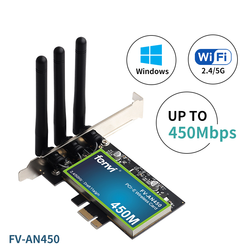 PCI Wi-Fi Adapter Dual Band Wireless-AN 450Mbps Desktop Network Card 802.11a/b/g/n With 2.4/5GHz For PC Computer