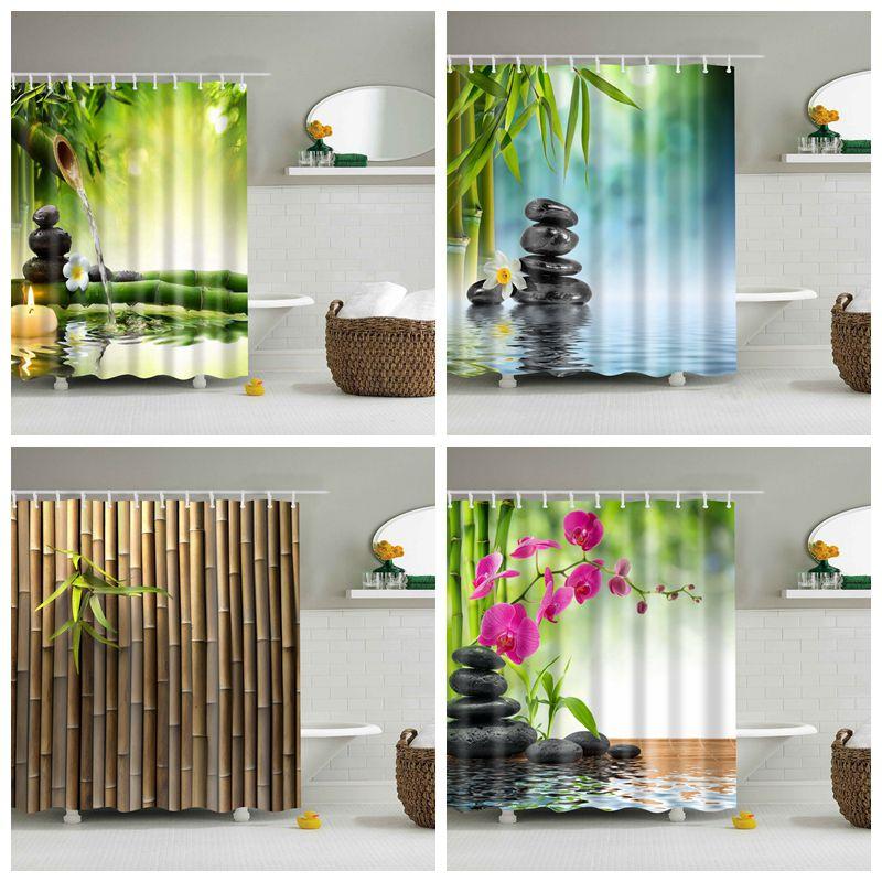 Shower Curtain Bamboo Green Plant Waterproof Green Shower Curtain