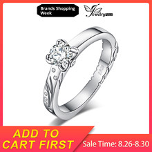 JewelryPalace Filigree 0.2ct Cubic Zirconia Solitaire Engagement Ring 925 Sterling Silver Gift For Women Trendy Jewelry Hot Sale(China)