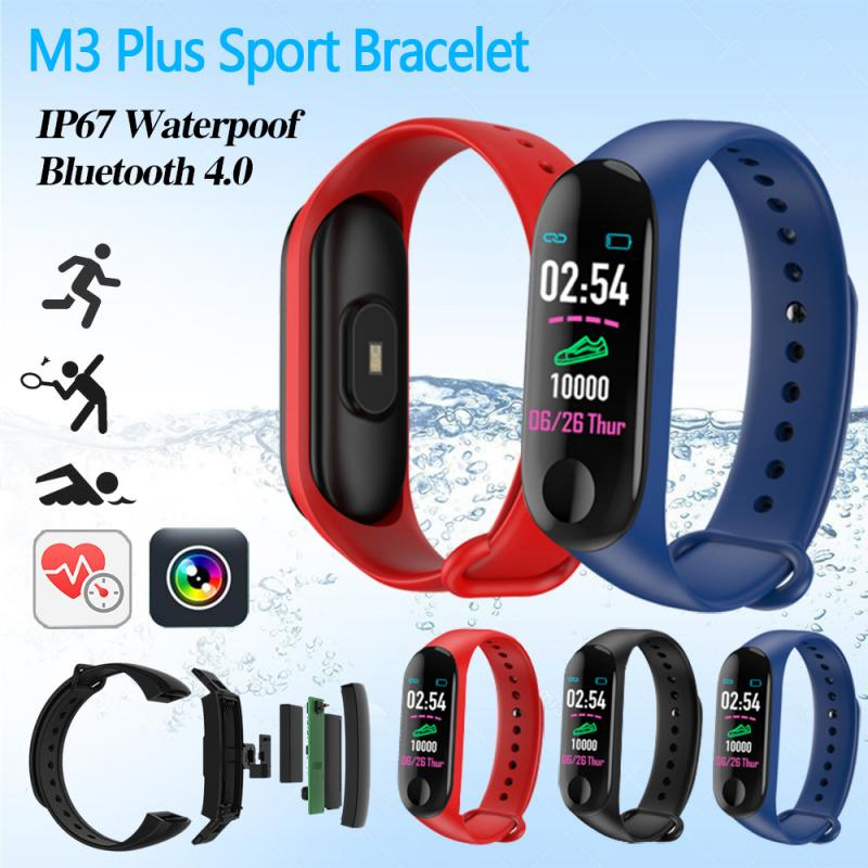 M3 Plus Smart Bluetooth Sports Bracelet Heart Rate Blood Pressure Sleep Monitor Fitness Tracker Waterproof Smart Band Wristband