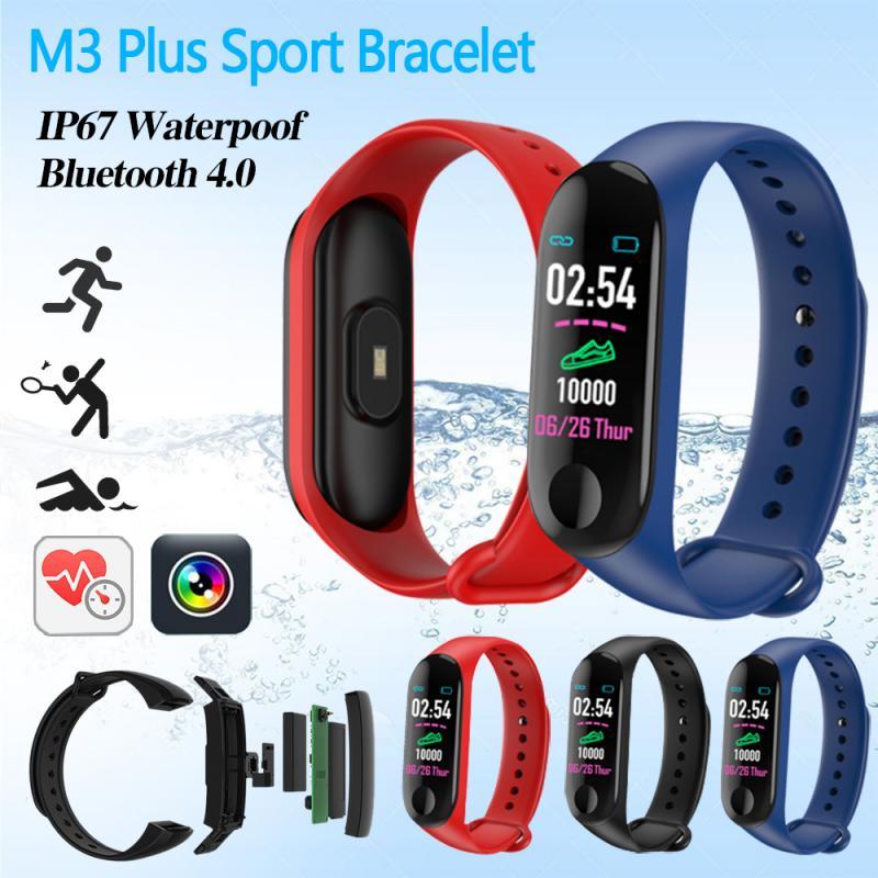 M3 Plus Smart Bluetooth Sports Bracelet Heart Rate Blood Pressure Sleep Monitor Fitness Tracker Waterproof Smart Band Wristband