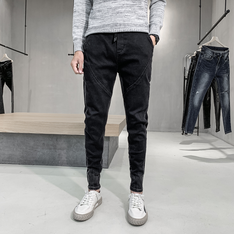 Fashion 2020 Spring Hip Hop Men Jeans Cuff Zipper Decor Slim Fit Denim Men Pants Casual Streetwear Jeans Joggers Men Trousers 36