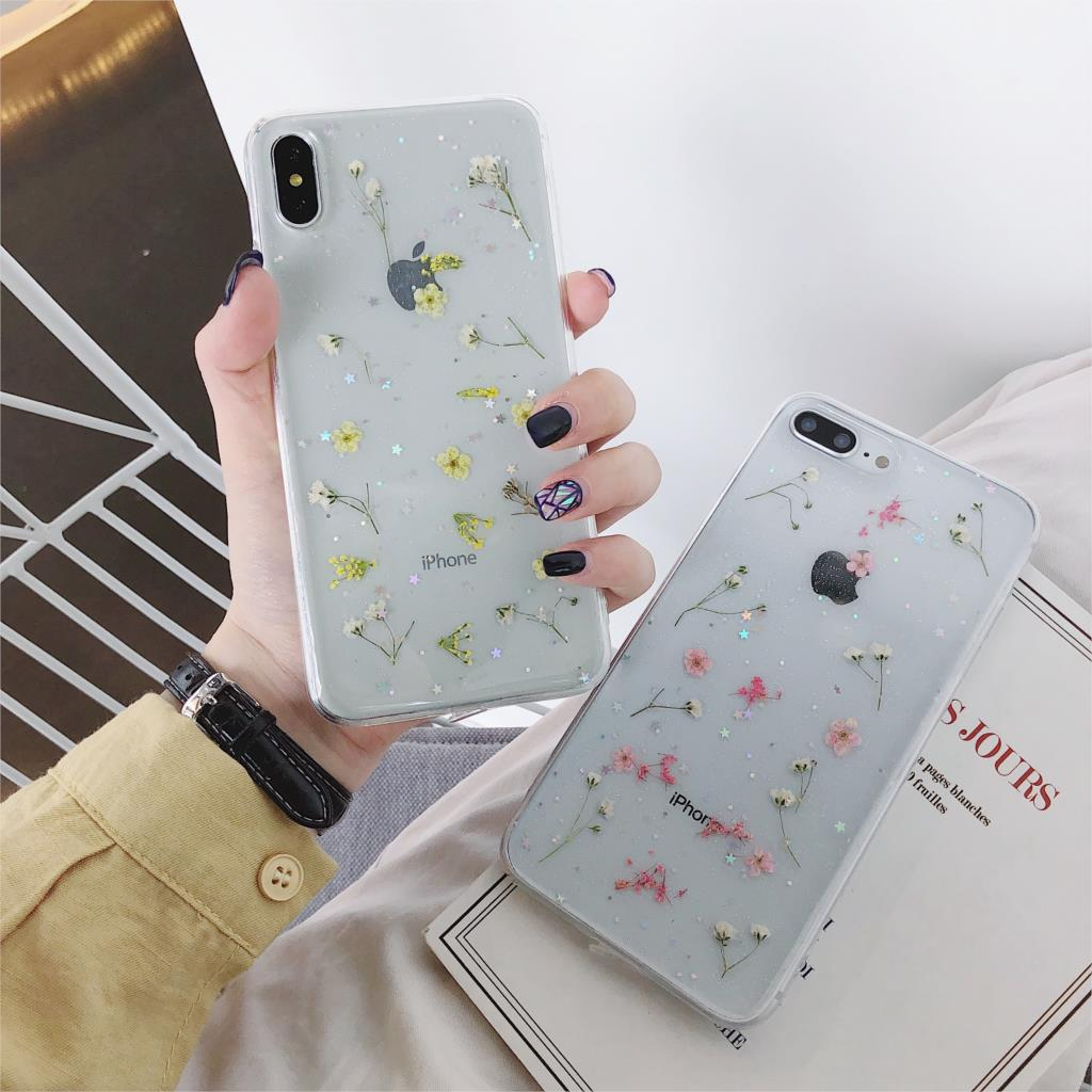 Transparent Soft TPU Phone Cover Real Flowers for iPhone 11 X XS XR XS Max 6 6S 7 8 Plus Dry Flowers Bling Beautiful Back Cover image