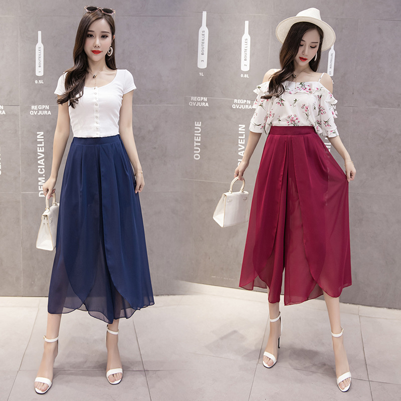8 Color 7 Yards Solid Color Chiffon Loose Pants Women's 2019 Summer New Style Loose Casual Pants High waisted Capri Pants Chiffo - 3