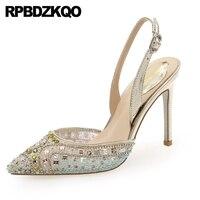 scarpin colourful mesh 8cm diamond pumps high heels pointed toe slingback luxury super crystal shoes women 2019 ultra rhinestone