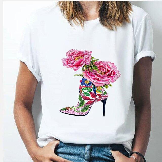 אופנה גבוהה עקבים נשים חולצה חדש Harajuku סקסי ורוד נעלי הדפסה קצר שרוול מזדמן אישיות קוריאני סגנון חולצות נקבה