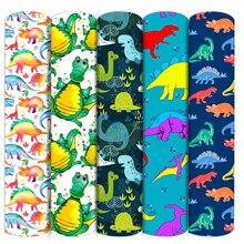 Dinossauros animais tecido de algodão poliéster retalhos tecido costura estofando bordado material diy feito à mão, c16395