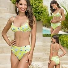 Bandage Bikini Swimwear Beachwear Biquini Bathing-Suit Push-Up-Pad Floral-Print Two-Pieces