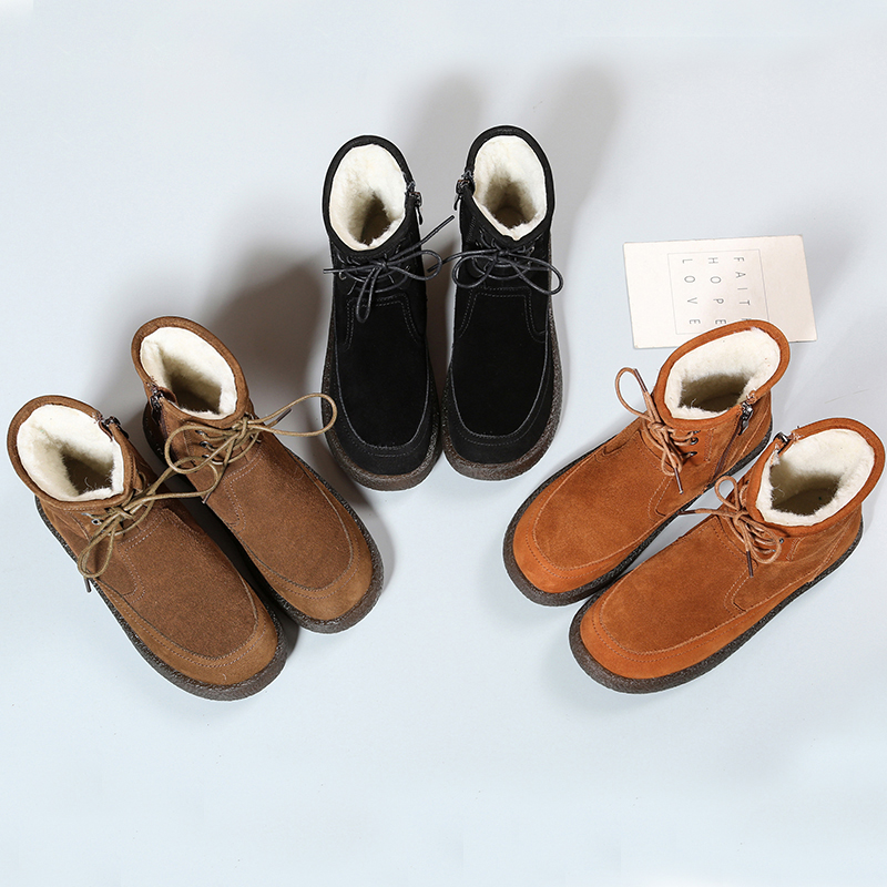 PEIPAH Genuine Leather Women Flat Boots Ladies Wool Lace Up Marting Shoes Woman Ankle Solid Snow