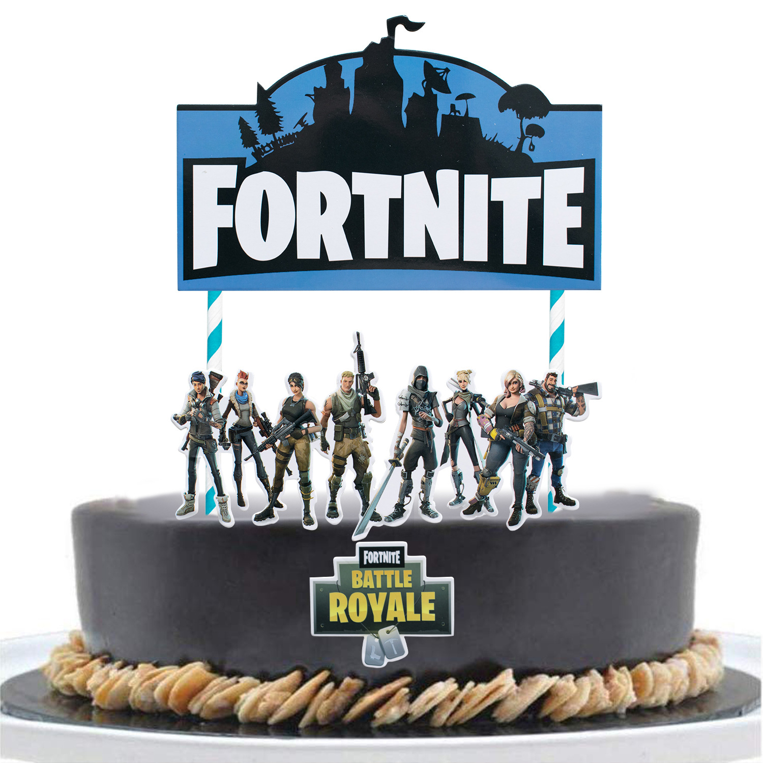 Fortnite Game Fortnite Cake Inserting Card Children Birthday Party Cake Decoration Decorative Flag Game Related Products